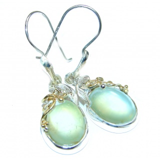 Authentic Moss Prehnite 14K Gold over .925 Sterling Silver handmade earrings