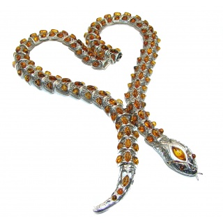 LARGE MASTERPIECE Snake authentic Baltic Amber .925 Sterling Silver brilliantly handcrafted necklace