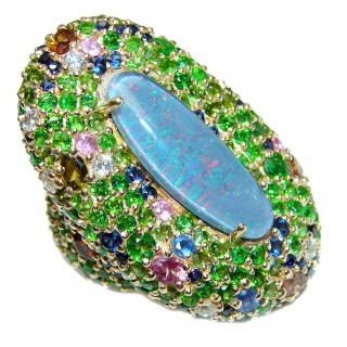 Large Australian Doublet Opal 24K Gold over .925 Sterling Silver handcrafted ring size 6