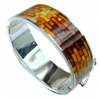Excellent Quality Mosaic Baltic Amber .925 Sterling Silver entirely handcrafted Bracelet
