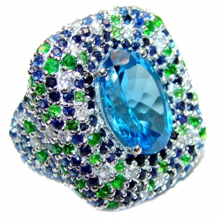 Spectacular Genuine 25ctw Swiss Blue Topaz .925 Sterling Silver handcrafted Statement Ring size 7 1/4