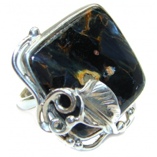 Huge best quality Silky Pietersite .925 Sterling Silver handmade Ring size 8 adjustable