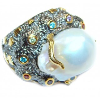 Jumbo Baroque Design Mother Of Pearl Gold plated over .925 Sterling Silver Ring s. 9