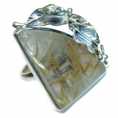 Huge Golden Rutilated Quartz .925 Sterling Silver handcrafted Ring Size 8 adjustable