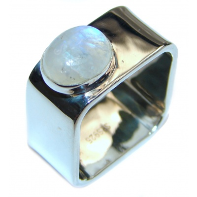 Fire Moonstone .925 Sterling Silver handmade Ring size 7