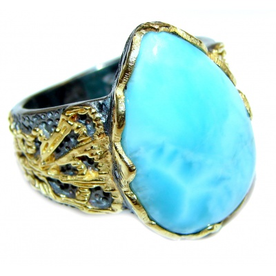 Vintage Design Natural Larimar 18K Gold over .925 Sterling Silver handcrafted Ring s. 7