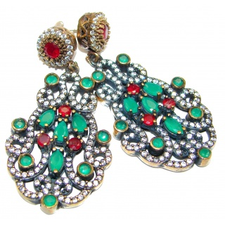 Spectacular genuine Ruby .925 Sterling Silver handcrafted earrings