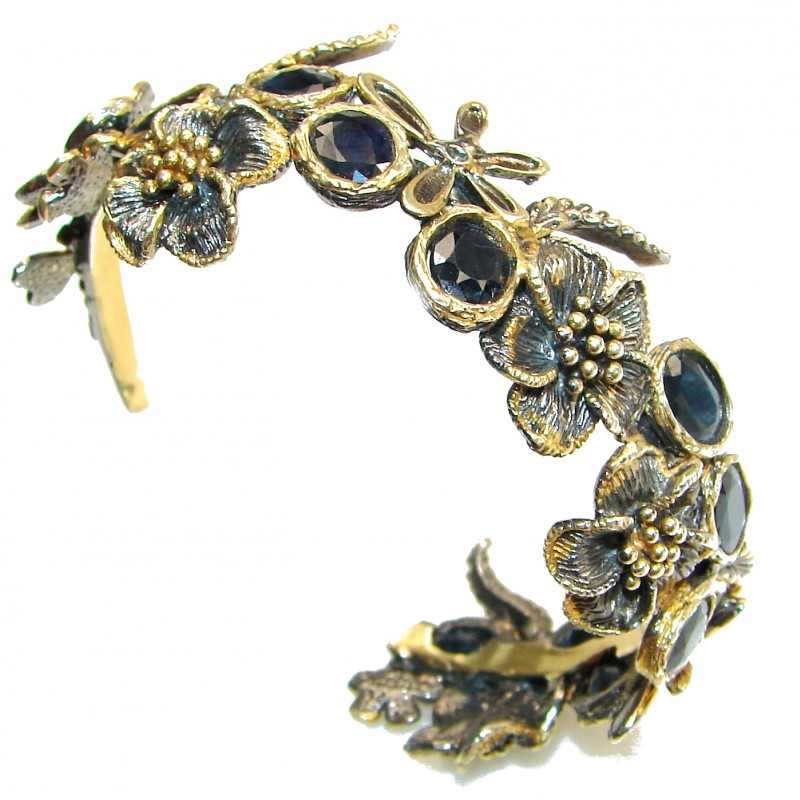 Nightfall African Kyanite 14K Gold Rhodium over .928 Sterling Silver entirely handcrafted Bracelet/Cuff