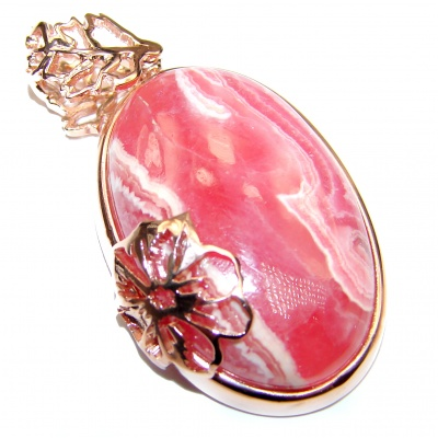 Pure Perfection Genuine Argentinian Rhodochrosite Rose Gold over .925 Sterling Silver handmade Pendant