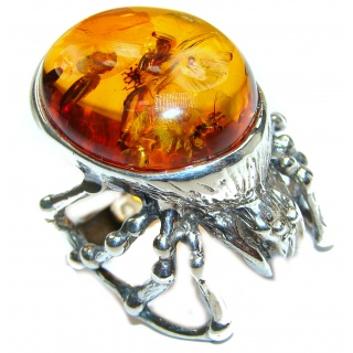 Huge Black Widow Authentic Baltic Amber .925 Sterling Silver handcrafted ring; s. 7 adjustable