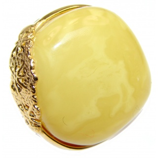 Large Genuine Butterscotch Baltic Amber 14K Gold over .925 Sterling Silver handmade Ring size 7 adjustable
