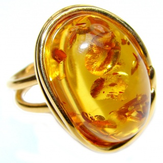 Huge Authentic Baltic Amber 18K Gold .925 Sterling Silver handcrafted ring; s. 8 adjustable