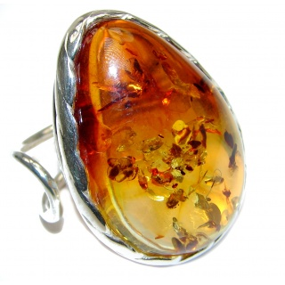 Huge Authentic Baltic Amber 1 .925 Sterling Silver handcrafted ring; s. 8 adjustable