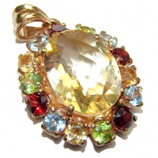 Luxury Genuine Citrine 14K Gold .925 Sterling Silver handmade Pendant