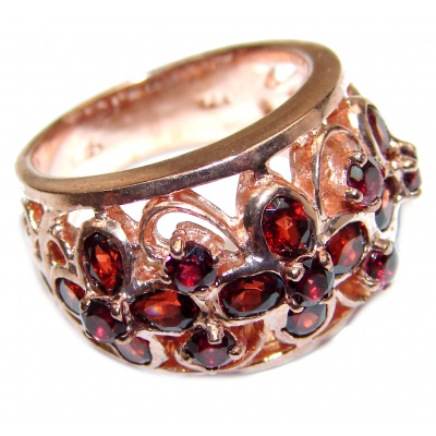 Natural Garnet 24K Rose Gold over .925 Sterling Silver Statement ring size 7 1/4