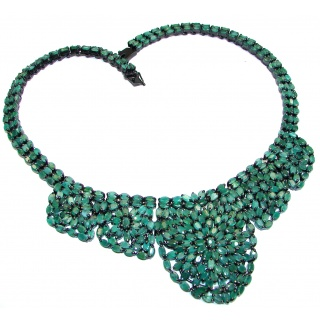 Green Queen Huge authentic Emerald black Rhodium over .925 Sterling Silver handcrafted necklace