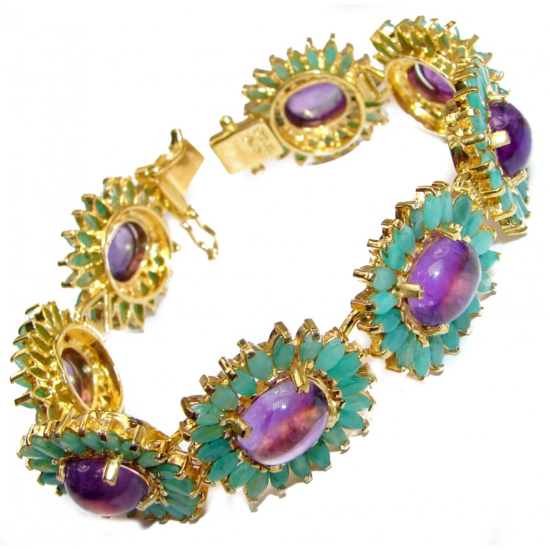 Authentic Amethyst Emerald 18K Rose Gold over .925 Sterling Silver handcrafted Bracelet