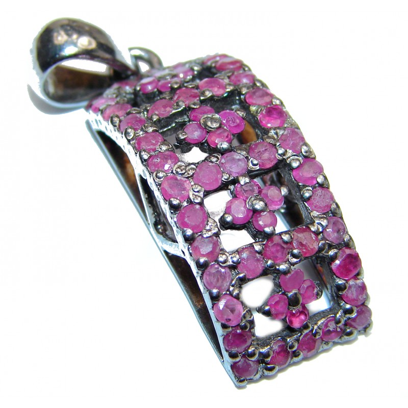 Genuine Ruby black Rhodium over .925 Sterling Silver handmade Pendant