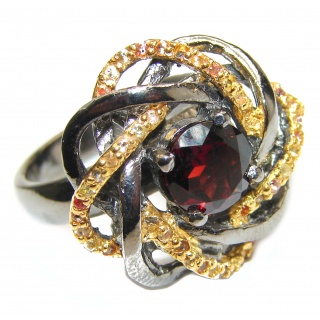 Natural Garnet 24K Rose Gold over .925 Sterling Silver Statement ring size 8 1/4