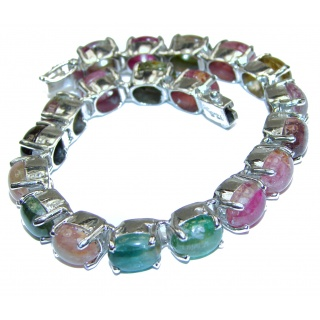 Authentic Watermelon Tourmaline .925 Sterling Silver handcrafted Bracelet