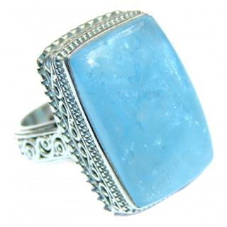 VINTAGE Design Blue Aquamarine .925 Sterling Silver handmade ring s. 8 1/4