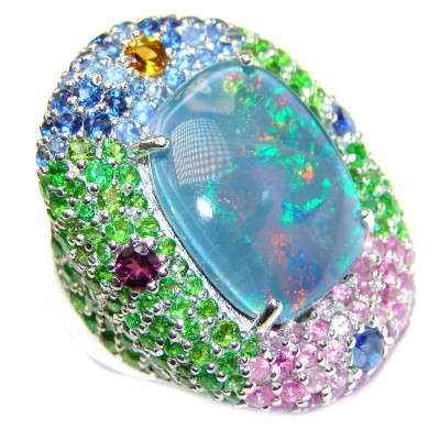 Large Australian Doublet Opal 24K Gold over .925 Sterling Silver handcrafted ring size 7