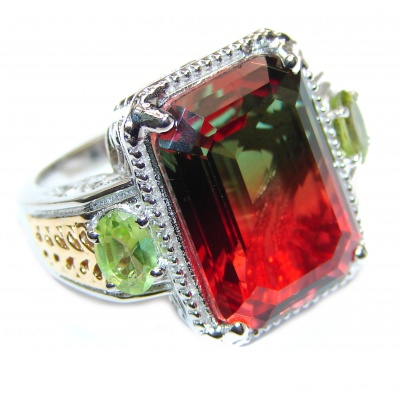 HUGE emerald cut Volcanic Tourmaline Topaz .925 Sterling Silver handcrafted Ring s. 6 3/4