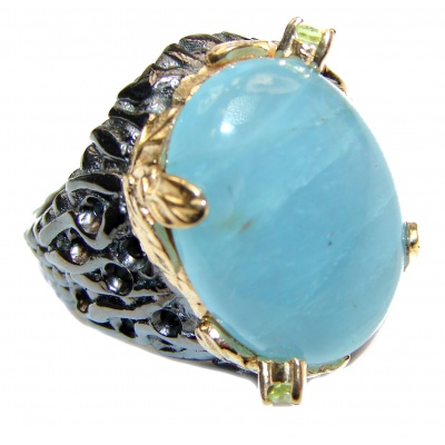 Genuine Aquamarine 14K Gold over .925 Sterling Silver handmade Cocktail Ring s. 7