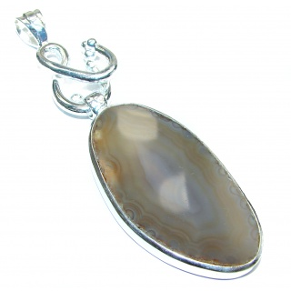 Unique Botswana Agate Handmade .925 Sterling Silver Pendant