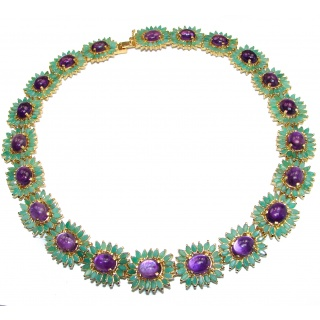 Royal quality Amethyst Emerald 14k Gold over .925 Sterling Silver handcrafted necklace