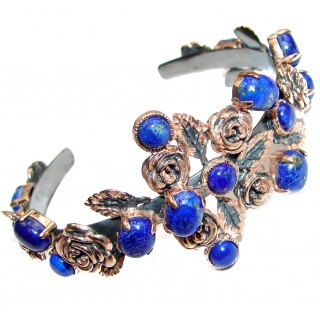 Blue Waves Lapis Lazuli Rose Gold over .925 Sterling Silver handcrafted Bracelet / Cuff