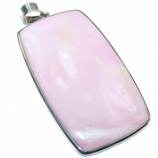 Large authentic Pink Opal .925 Sterling Silver handmade Pendant