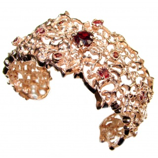 Red Reef Stunning genuine Garnet 24K Gold over .925 Sterling Silver handcrafted Bracelet / Cuff