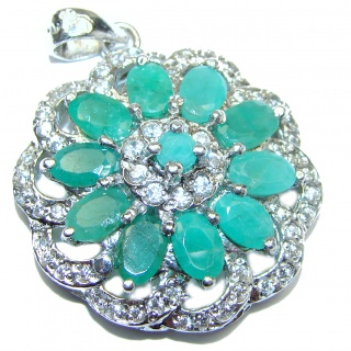 Vintage Style Emerald .925 Sterling Silver handmade Pendant