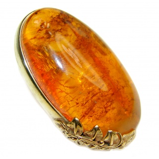 Huge Authentic Baltic Amber 18K Gold over .925 Sterling Silver handcrafted ring; s. 8 adjustable