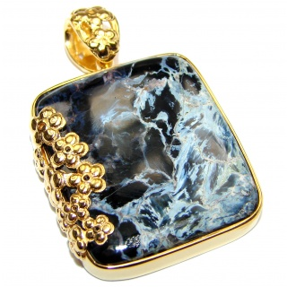 Genuine Silky Black Pietersite 18K Gold over .925 Sterling Silver handmade pendant