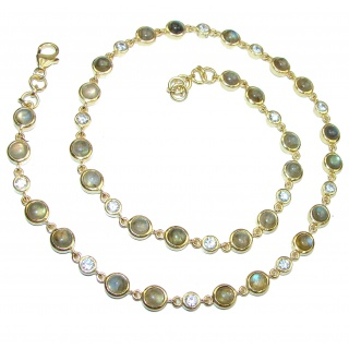 Great Masterpiece genuine Labradorite 14K Gold over .925 Sterling Silver handmade necklace