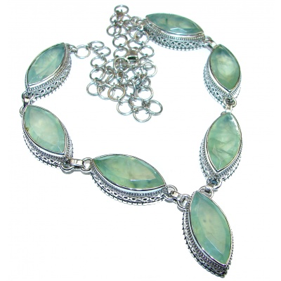 Great Masterpiece genuine Moss Prehnite .925 Sterling Silver handmade necklace