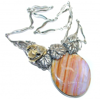 Spectacular Golden Bee Rustic Style Australian Boulder Opal .925 Sterling Silver brilliantly handcrafted necklace