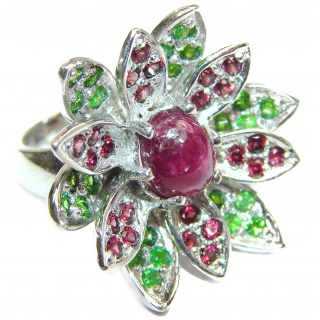 Large genuine Ruby Star .925 Sterling Silver Statement Italy made ring; s. 7 1/4