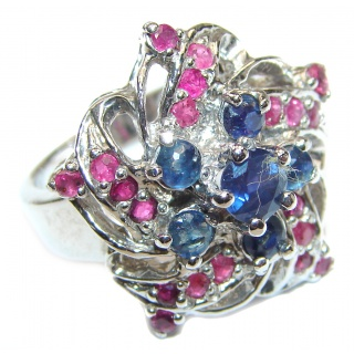 Vintage Style Sapphire Ruby .925 Sterling Silver handcrafted ring; s. 7