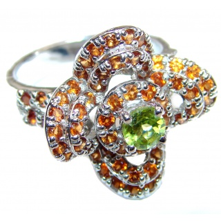 Genuine Peridot Ruby .925 Sterling Silver handcrafted Statement Ring size 8 1/4
