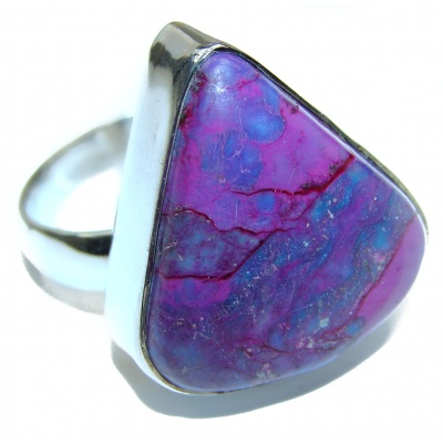 Purple Turquoise .925 Sterling Silver handcrafted ring; s. 8