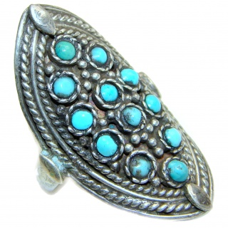 Blue Copper Turquoise .925 Sterling Silver ring; s. 9