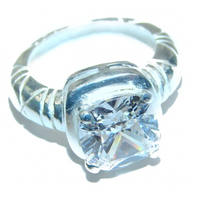 White Topaz .925 Sterling Silver handmade Ring s. 7