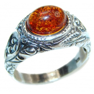 Genuine Baltic Amber .925 Sterling Silver handmade Ring size 10 1/4
