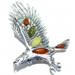 Huge Beautiful genuine Amber Eagle .925 Sterling Silver handcrafted Pendant Pin