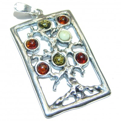 Perfect Family Tree Baltic Amber .925 Sterling Silver Pendant