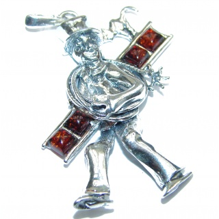 Lucky Chimney Sweep Amber .925 Sterling Silver handmade Pendant