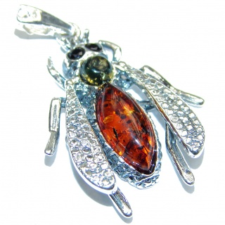 Fly Design Polish Amber .925 Sterling Silver handcrafted Pendant